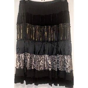 BCBGMaxAzria Silk Velvet Peasant Midi Skirt